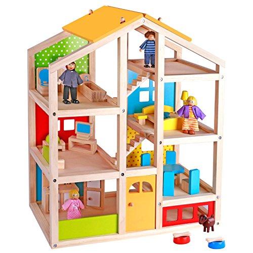 Pidoko Kids Skylar Dollhouse with 20 Pcs Furniture 5 Dolls and a Pet Dog