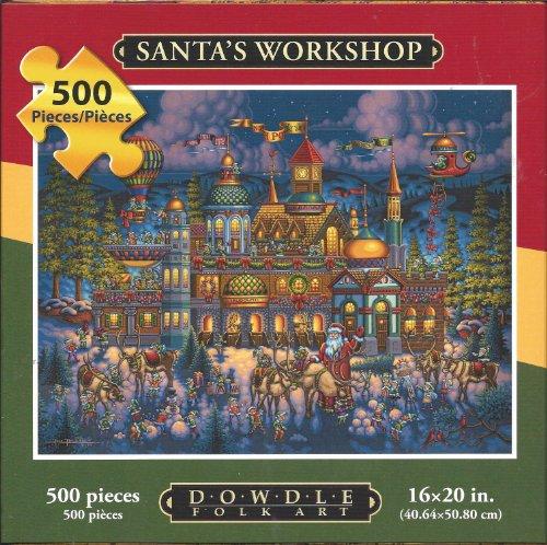 Eric Dowdle Folk Art Puzzle Santas Workshop 500 Pieces 16 x 20 Finished