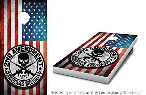 2nd Second Amendment Wrap Set Color 2X Decals 24 x 48 Skull Cross Rifles Black White Grey Scale Grunge US Flag Logo Graphics for Cornhole baggo Bag Toss Boards Game