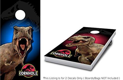 Stickit Graphix T-REX Corn Hole Wrap Set 2X Decals 24 x 48 Jurassic Dinosaur World Red vs Blue Graphics for Cornhole baggo Bag Toss Boards Game