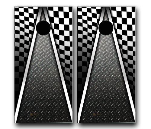 AUTO RACING CHECKERED FLAG CORNHOLE WRAP SET High Quality Vinyl Board DECAL Baggo Bag Toss Boards  MADE IN the USA