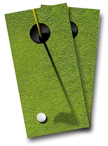 GOLF Green Putt Putt Golf Ball CORNHOLE WRAP SET High Quality Vinyl Board DECAL Baggo Bag Toss Boards  MADE IN the USA