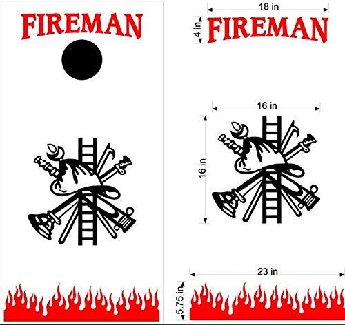 Fames Fire Fireman Firefighter Cornhole Board Decals Stickers Bean Bag Toss