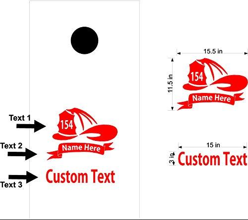 Fireman Hat Firefighter Cornhole Board Decals Stickers Bean Bag Toss