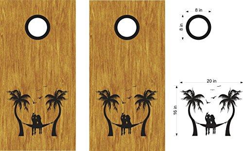 Hammock Palm Trees Beach Cornhole Board Decals Stickers Bean Bag Toss
