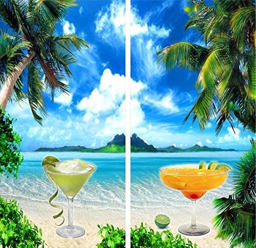 Margarita Glasses Beach Cornhole Game Board 3M Laminated Decal Wrap Set