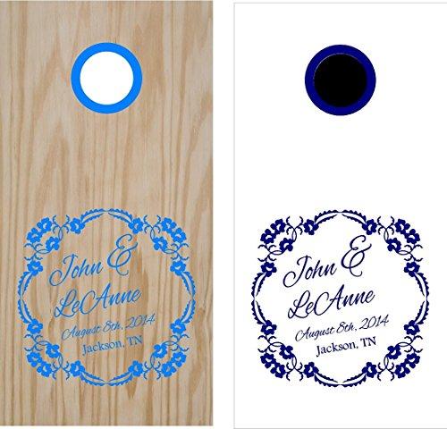 Monogram Wedding Date Anniversary Cornhole Board Decals Stickers Bean Bag Toss Rings