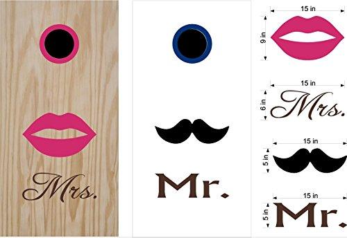 Mr Mrs Anniversary Cornhole Board Decals Stickers Bean Bag Toss Rings
