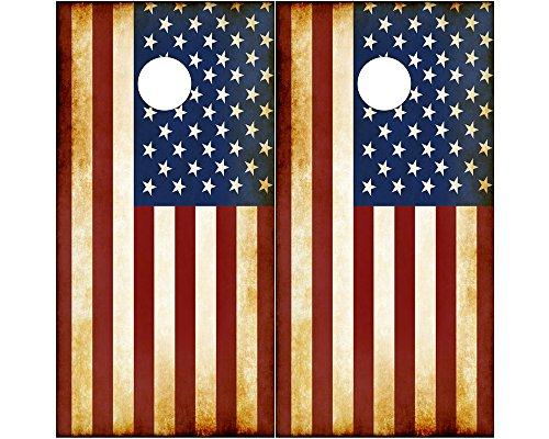 Speed Demon Hot Rod Shop Cornhole Board Wraps ~ Rustic American Flag Corn Hole Boards Laminated Decal Wrap Set of 2 CHB