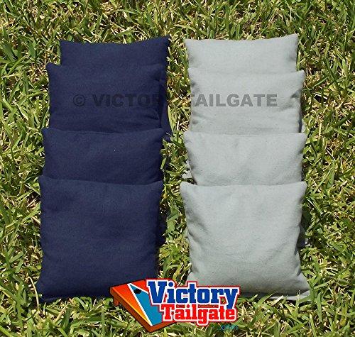 Weather Resistant Cornhole Bags Set - 4 Gray 4 Navy Blue