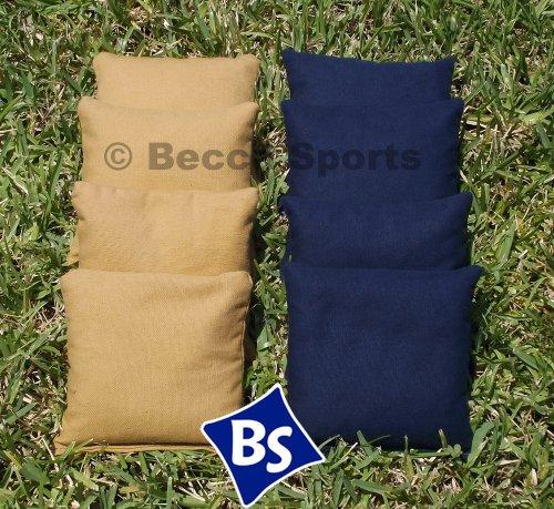 Weather Resistant Cornhole Bags Set - 4 Navy Blue 4 Gold Dark Gold