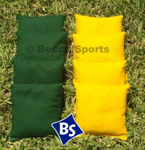 Weather Resistant Cornhole Bags Set - 4 Yellow 4 Hunter Green