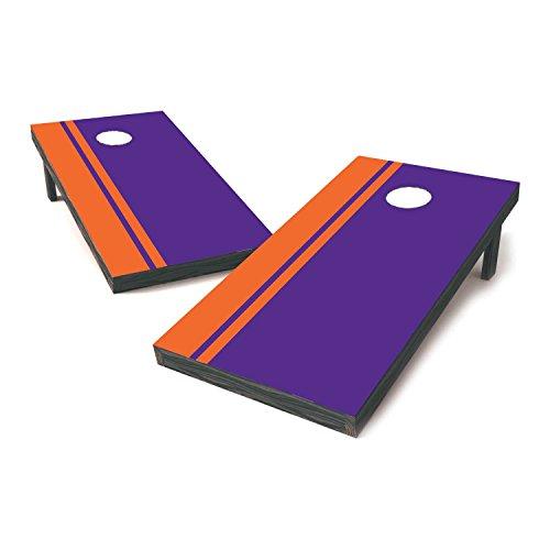 Clemson Two Tone College Football Cornhole Sticker Covers  Cornhole Board Decals  Cornhole Board Stickers  Bag Toss Stickers  Dummy Board Decals Orange Purple - Victory Stripes