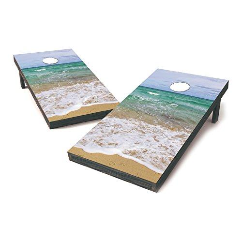 Laminated Vinyl Cornhole Sticker Covers  Cornhole Board Decals  Cornhole Board Stickers  Bag Toss Stickers  Dummy Board Decals Beach View