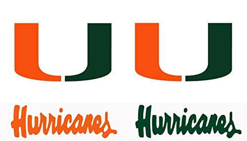 UNIVERSITY OF Miami Hurricanes Large 15 inch Wall - Cornhole Decals  Set of 4