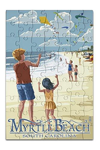 Kite Flyers - Myrtle Beach South Carolina 8x12 Premium Acrylic Puzzle 63 Pieces