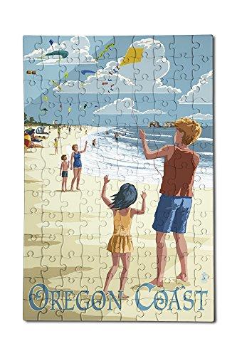 Oregon Coast - Kite Flyers 12x18 Premium Acrylic Puzzle 130 Pieces