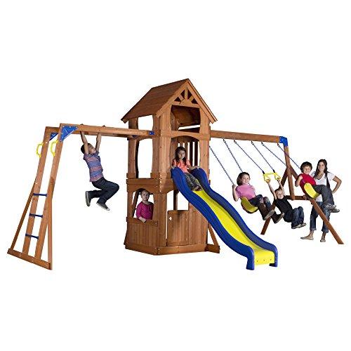 Backyard Discovery Parkway All Cedar Wood Playset Swing Set