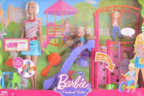 BARBIE I Can Be PRESCHOOL TEACHER PLAYSET w BARBIE Doll KELLY Doll PLAYGROUND SLIDE SWING More 2008