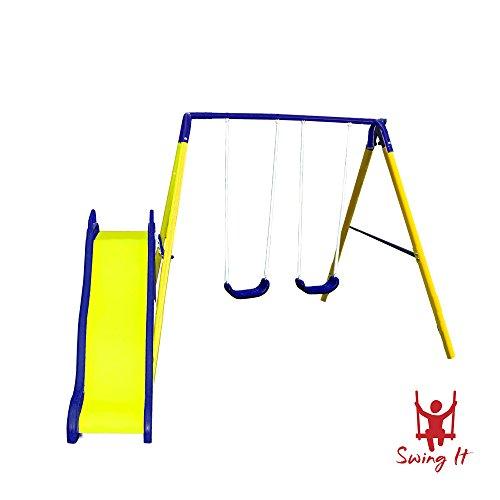 Swing Set For Backyard Children Kids Outdoor Glider Slide Playground Park Wave