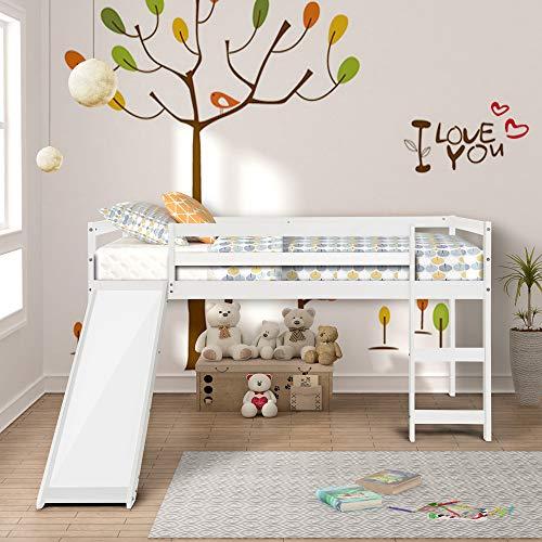 GLCHQ Multifunctional Design Kids Loft Bed with Slide for Boys Girls Bedroom Ivory White