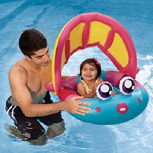 Baby Pool Floats Inflatable Swimming Seat Tube Canopy Ring Infant Raft Swim-Boat Chair Tubing Sun-Shade Top by Play Day