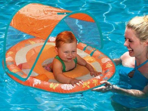 Swim Ways Baby Spring Float with Sun Canopy Orange Turtles Flowers Design