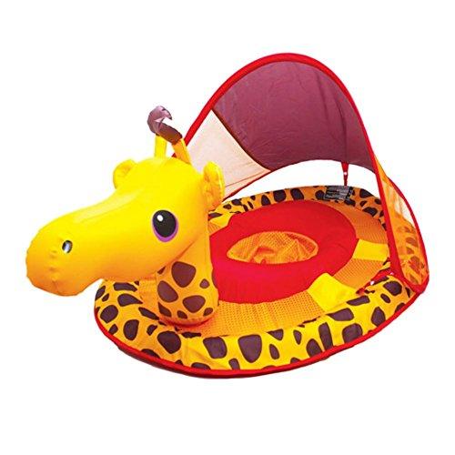 Swim Ways Baby Spring Float with Sun Canopy Yellow Giraffe Design