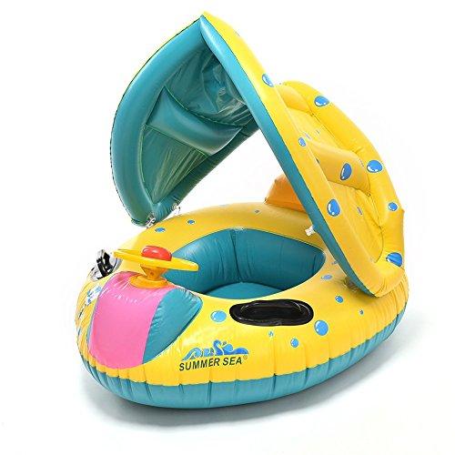 Baby Swim Ring Baby Swim Float Swim Car Boat With A Trumpet Child Sun-shading Boat Swimming Toys