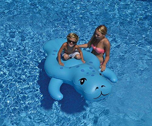 72 Light Blue Manatee Inflatable Swimming Pool Floating Lounge Raft