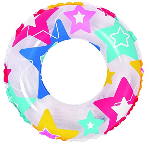 24 Colorful Star Print Inflatable Swimming Pool Inner Tube Ring Float