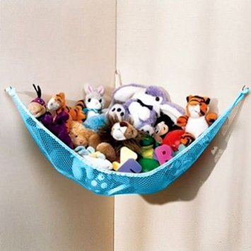 Dozenegg Stuffed Animal Toy Organizer Hammock Pet Net Blue Net and Trim