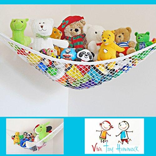 Viva Toy Hammock Pet Net Organizer - Lge 72˝x48˝x48˝ For Stuffed Animals - Balls - Gear - Triangular Hanging Corner Storage - White Polyester Net  Hooks - Ready To Hang - 100 Guarantee