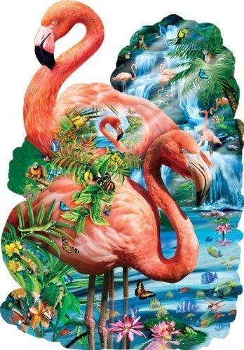 SunsOut Flamingo Unique Wading Pool Nature Hidden Images Shaped Puzzle - 1000 pcs by SunsOut