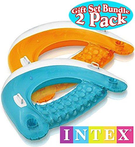 Intex Sit N Float Inflatable Lounges Teal Orange Gift Set Bundle - 2 Pack 60 X 39