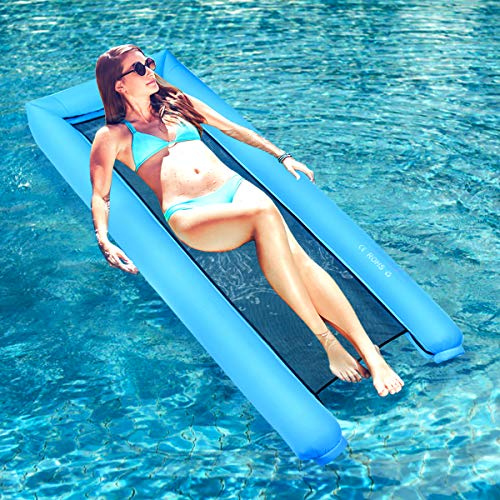 Dreampark Inflatable Water Hammock Pool Floats Portable Floating Lounger Chair for Adults Kids Summer Swimming Pool Beach Travel Accessories 440lb Capacity Fast Inflated