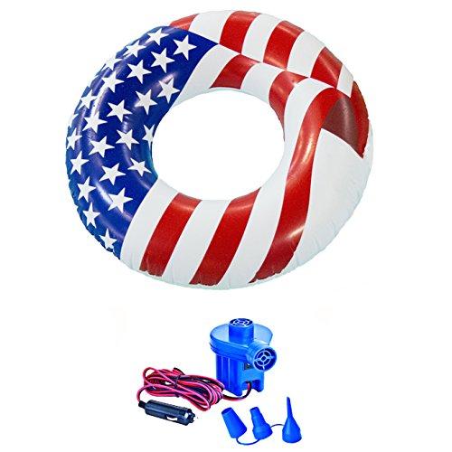 Swimline 36 American Flag Swimming Pool Tube Float  12-Volt Electric Air Pump