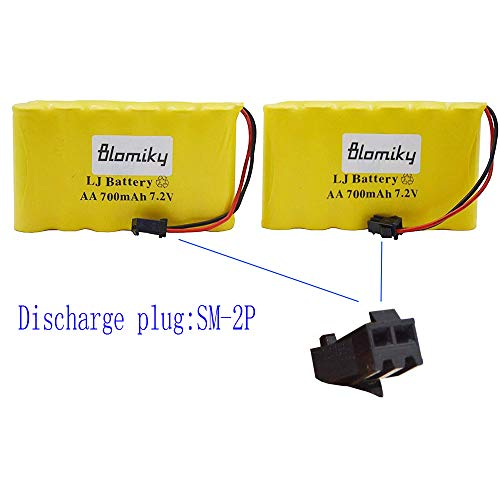 Blomiky 2 Pack 72V 700mAh Ni-Cd Rechargeable AA Battery Pack SM 2P Plug for Previous Version 15 Channel Huina 1550 550 RC Excavator 72V 700mAh Yellow 2