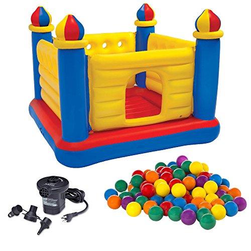 INTEX Inflatable Jump-O-Lene Ball Pit Castle Bouncer w Air Pump Plastic Balls