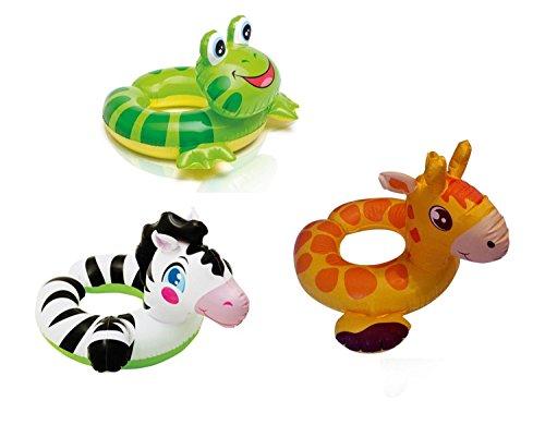 3 Pcs Cute Animal Split Pool Floats Kid Swim Tube Set Bundle Swim Pool Float Includes Zebra Frog Giraffe