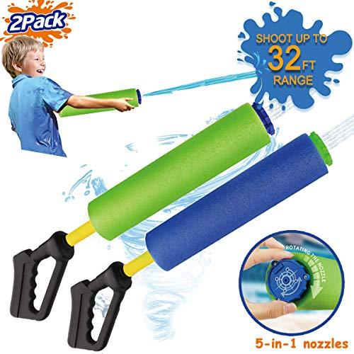 Water Gun for Kids 2 Pack Water Guns Kids Pump Foam Water Soaker Super Blasters Soaker Water Shooter Summer Fun Beach Toys Outdoor Swimming Pool Games Toys Boys Girls Adults