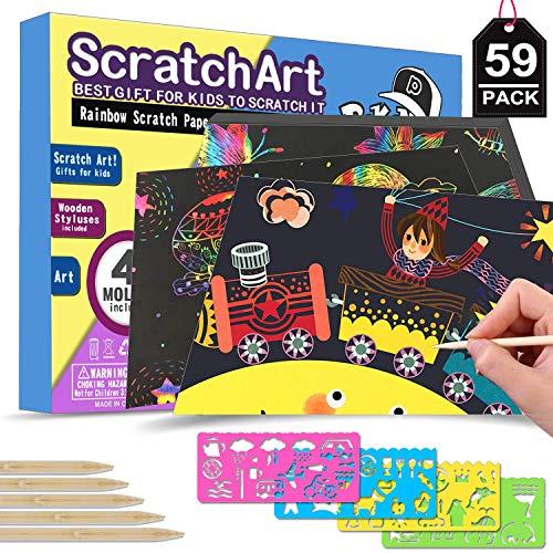 POKONBOY Rainbow Scratch Paper Art Kit for Kids - 50 Big Sheets Scratch Art Paper 4 Stencils 5 Wooden Styluses  Rainbows Scratchboard Arts Crafts Kits for Kids Christmas