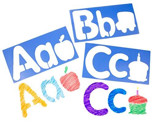 Royclo R5618 Big Alphabet and Picture Stencils Set of 26