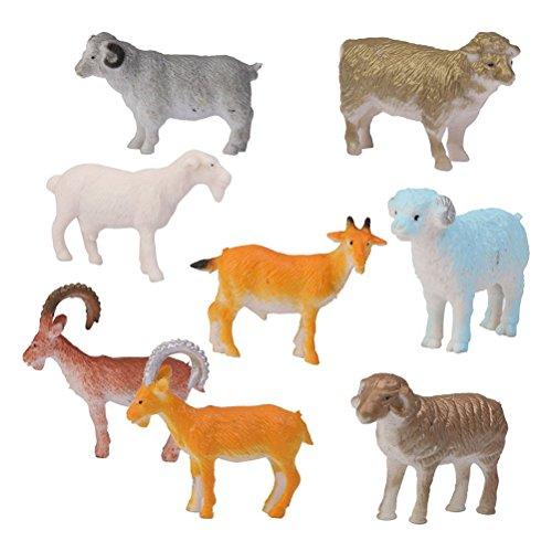 ROSENICE 8pcs Mini Farm Animal Figures Toy Sheep Goat Toy Figure Set