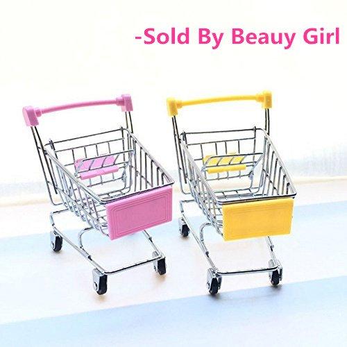2 Pcs Beauy Girl Mini Shopping Cart Supermarket Handcart Shopping Utility Cart Mode Storage Toy Pink and Yellow