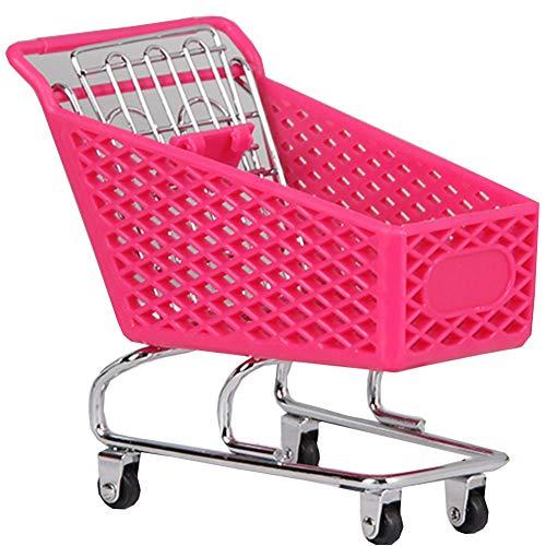 Blancho Bedding Mini Supermarket Handcart Mini Shopping Cart ToyDesktop StorageHot Pink 1