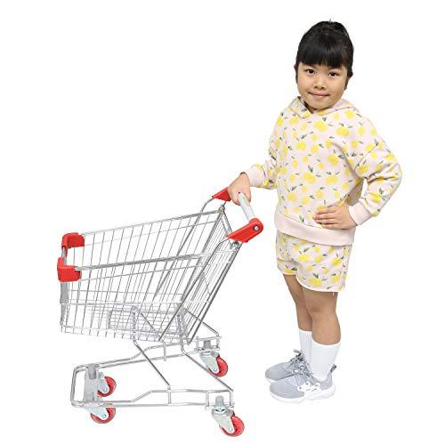 "Emmzoe ""The Little Shopper"" Real Life Kids Mini Retail Grocery Shopping Cart Toy Chrome Frame"