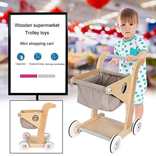 Wood Supermarket Trolley Toy Wooden Shopping Cart Pretend Play Toy for Children Kids Girls Boys Birthday Gift Idea