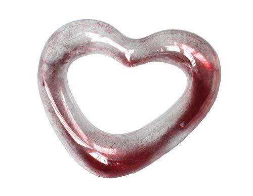 Playtek Toys Heart Shaped Glitter Inflatable Pool Float Round Tube Pink