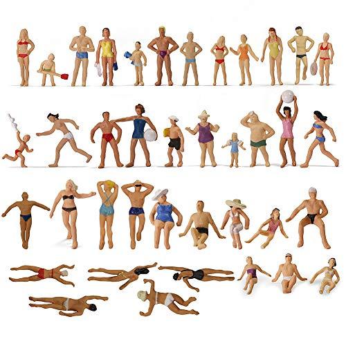 Evemodel P8720 40pcs Model Trains Swimming Figures 187 Scale HO Scale People Scenery Layout Landscape Miniature